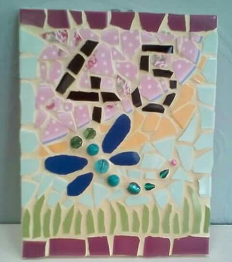 20x25 cm Mosaic House Number 45 Dragon Fly