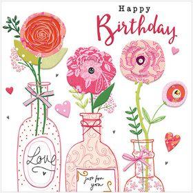 WS512 Birthday Flower Bottles.  www.gailscards.com.au