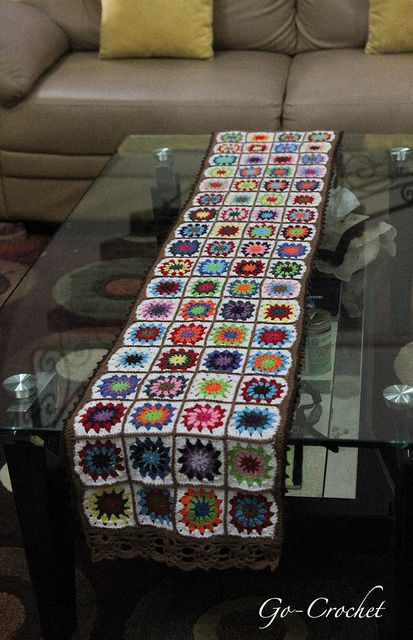 Granny Square Tablecloth/Table Runner By Crocheting, Via Flickr