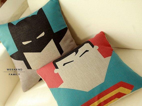 Superman Batman  linen cushion pillow cover sofa bedroom sitting room adornment