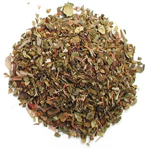 Greek oregano. I dry mine at the end of summer and crush it up and put it in a glass spice jar.