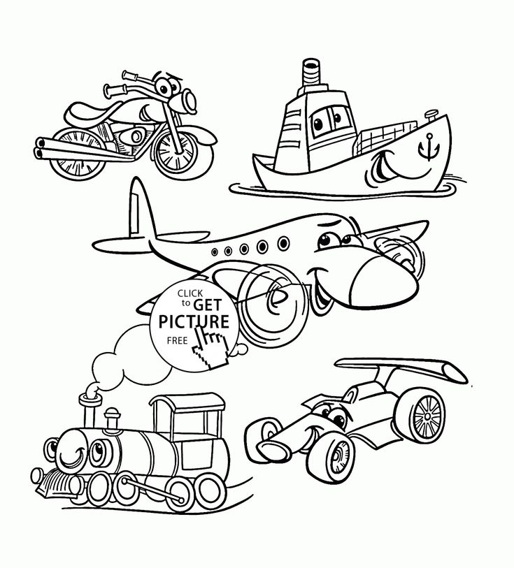 Cartoon Transport Set coloring page for toddlers ... | transportation coloring pages for preschool
