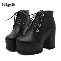 Gdgydh новинка 2017 г. фирменный дизайн женская обувь на весну осень черные сапоги на высоком массивном каблуке ботильоны на платформе со шнуров...
