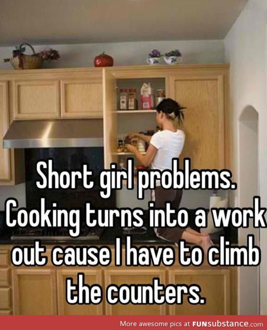 Short girl in the kitchen