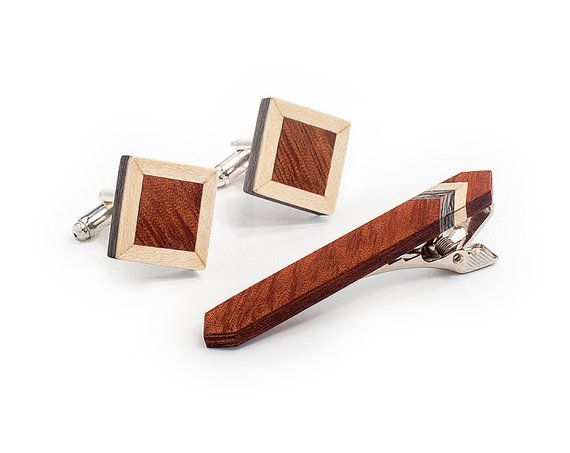 Wooden Tie Clip And Cufflink Set  Tweed by BugAccessories on Etsy