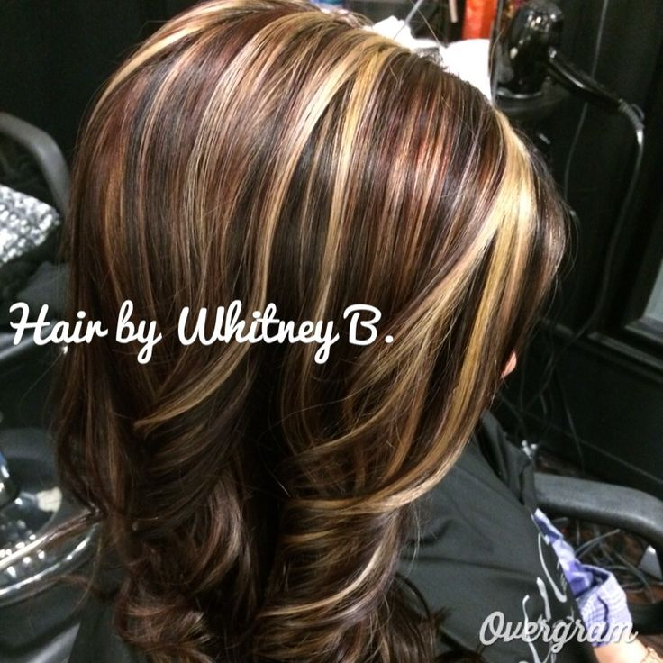 Reds blonde caramels and browns hair color highlights lowlights