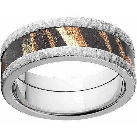 Mossy Oak Shadow Grass Men's Camo 8mm Stainless Steel Band with Tree Bark Edges and Deluxe Comfort Fit, Size: 13