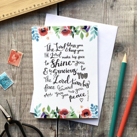 The Lord Bless You Floral Card  Christian Cards  Floral