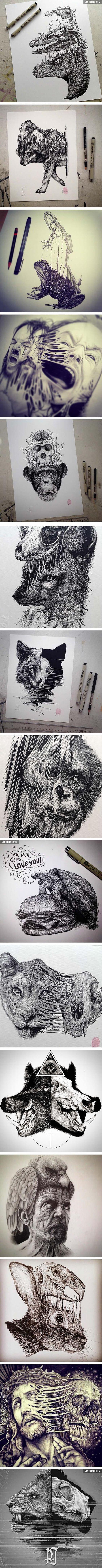 Animals Leave Their Skeletons Behind In These Stunning Dark Drawings (By Paul Jackson):