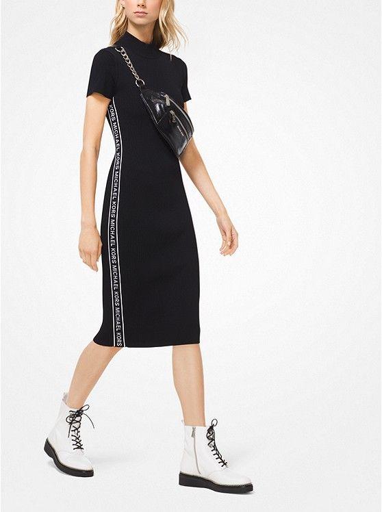 2efcdea330d MICHAEL KORS Logo Tape Ribbed Knit Dress in Black ~ Today s Fashion Item   MichaelKors