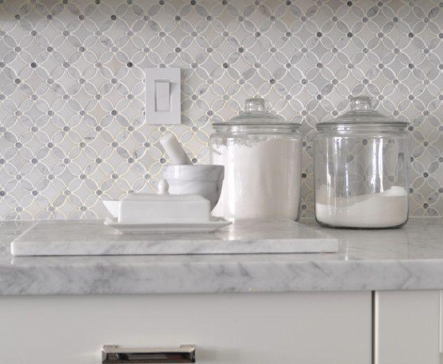 backsplash ideas-- Meredith Heron Design: Carrara marble countertops pair  with a backsplash created - 17 Best Images About Kitchen Backsplash Ideas On Pinterest