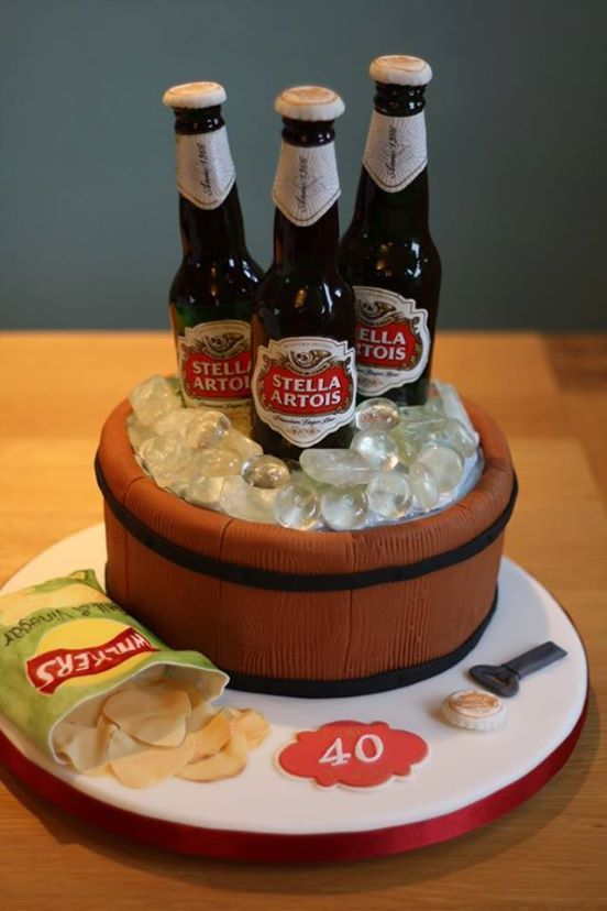 Cake in the form of pot with cold beer and chips