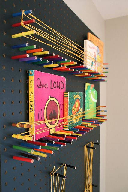 Amazing colored pencil, string, peg board shelving