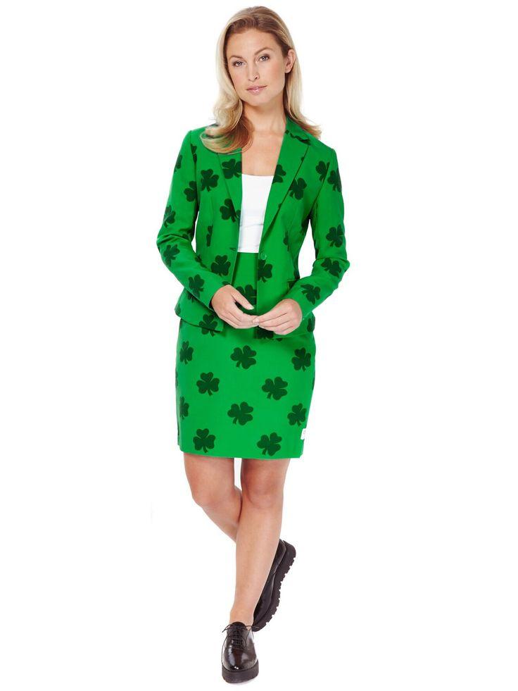 Costume Miss San Patrizio per donna Opposuits™: Questo costume San Patrizio da donna della Opposuits™ per donna comprende una gonna e una giacca ( top e scarpe non incluse).Tutto il completo è di colore verde con dei trifogli.La...
