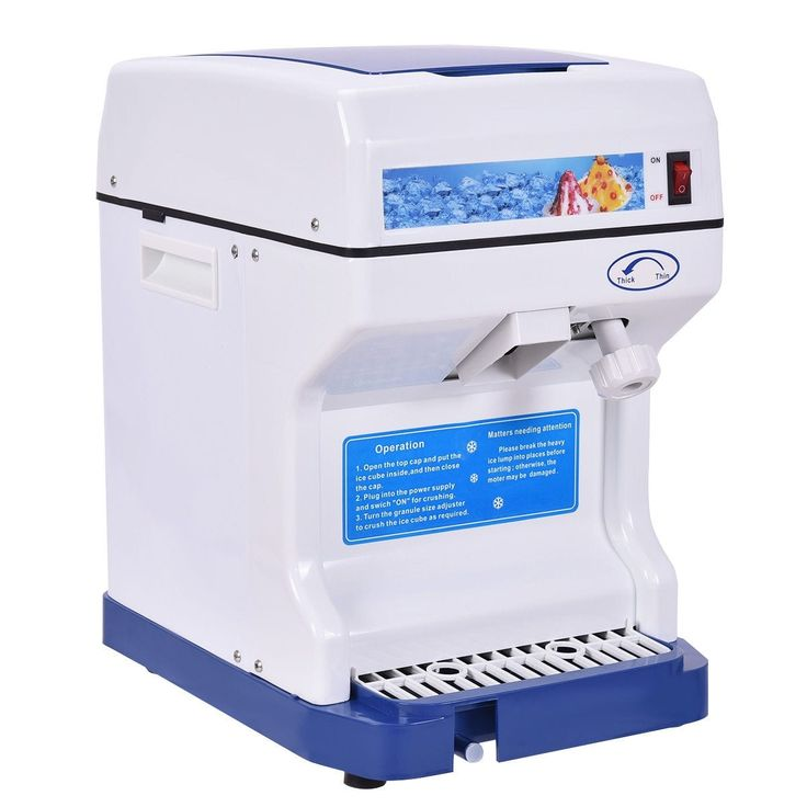 Costway Electric Ice Shaver Machine Tabletop Shaved Ice Crusher Ice Snow Cone Maker, White