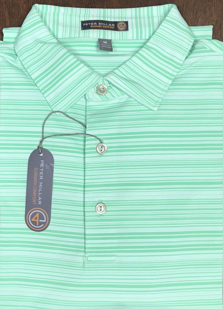 19bc82a7deb NEW Peter Millar E4 Summer Comfort Green Striped Short Sleeved Golf Polo  Size M