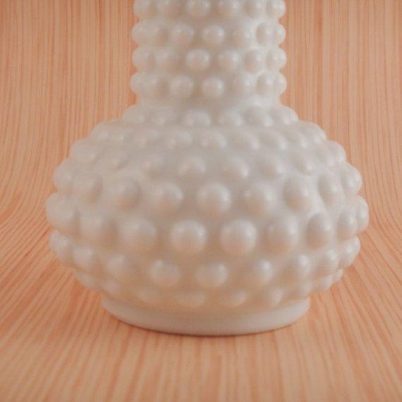 Hobnail Milk Glass Bud Vase by BrassandMilkglass on Etsy