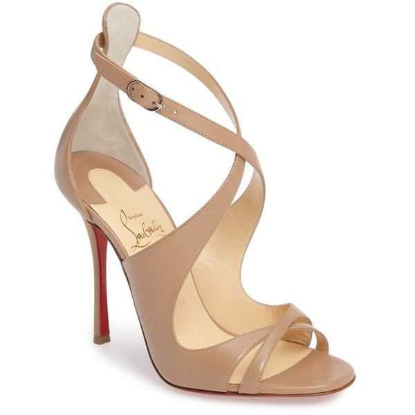 Women's Christian Louboutin Malefissima Sandal (3.005 BRL) ❤ liked on Polyvore featuring shoes, sandals, heels, nude leather, high heel stilettos, nude heeled sandals, stiletto sandals, leather strap sandals and peep toe stilettos
