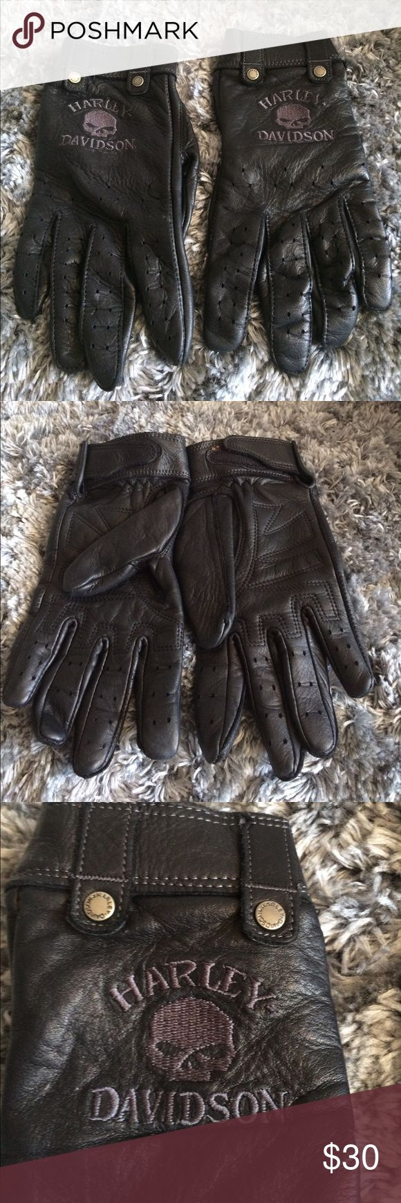 John lewis ladies black leather gloves - Harley Davidson Black Leather Gloves
