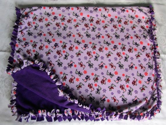 Cozy Puppy pattern fleece tie blanket/baby by BriersBlankets