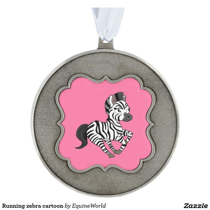 Running zebra cartoon scalloped pewter christmas ornament