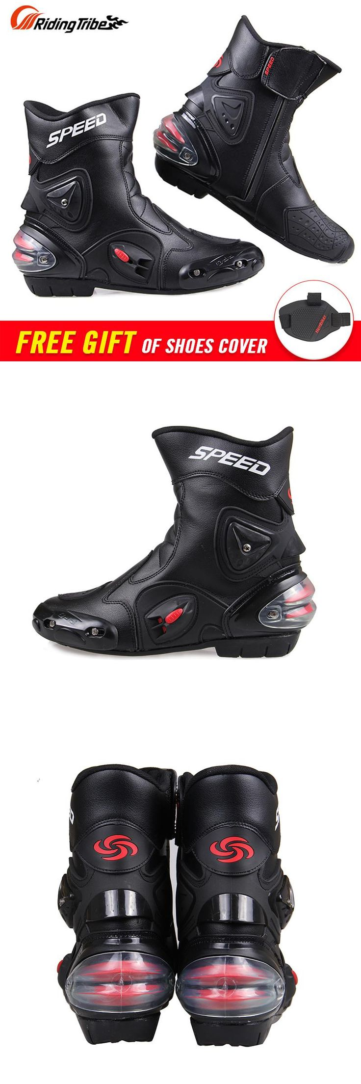 [Visit to Buy] Free shipping Ankle joint protection motorcycle boots Pro-Biker SPEED boots for motorcyle Racing Motocross Boots BLACK RED WHITE #Advertisement
