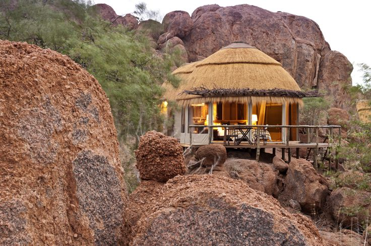 Secluded amongst the boulders, Mowani 's guest rooms are a testament to the surroundings, where a sense of elegance and earthiness prevails.  Winner of an architectural eco-design award in Germany, the organic nature of the design is felt through the camp.
