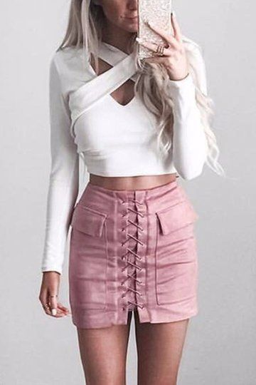 Pink Front Lace-up A-line Mini Skirt With Back Zip from mobile - US$23.95 -YOINS