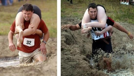 First introduced in Finland, Wife Carrying is an actual sport where male competitors race while carrying a female teammate. The objective is for the male to carry the female through a special obstacle course in the fastest time. Major competitions are held in Sonkajarvi, Finland, Monona, Wisconsin and in Marquette, Michigan.