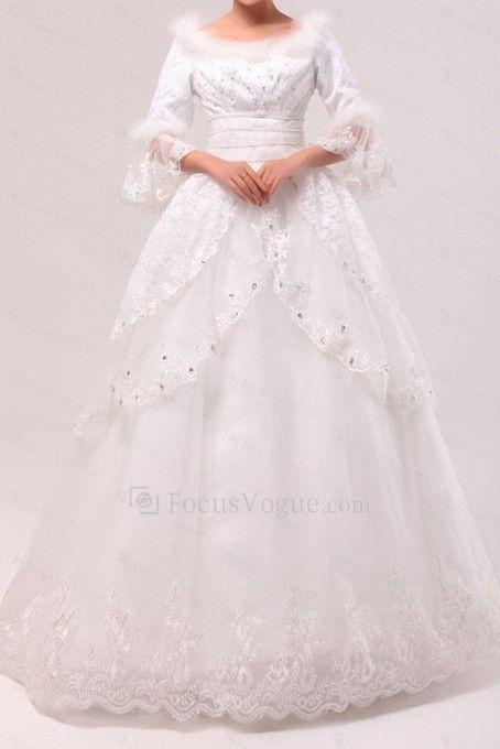 Spets off-the-axeln golv längd balklänning klänning bröllop med paljetter - Focus Vogue