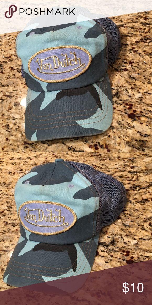 Von Dutch Hat Price reduced!! Blue camo print with gold lettering. Mesh sides.  Gently worn - priced accordingly. Von Dutch Accessories Hats