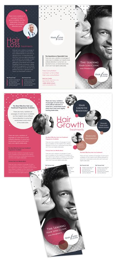 Hair Loss Treatment Centre Tri Fold Brochure Template  Hair loss treatment centre Tri Fold Brochure Template will be a good choice for presentations on hair loss treatment centre.    SKU : TF090085LT  Page Size : 8.5in x 11in  Fold Type : Tri Fold  Purchase Includes : Artwork, Hi-resolution (CMYK) images & Fonts  Software Requirement : Adobe Illustrator CS 3    http://dlayouts.com/14-All-Templates/319-Hair-Loss-Treatment-Centre-Tri-Fold-Brochure-Template/flypage.tpl.html