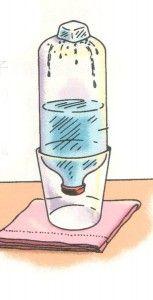 Demostrar el ciclo del agua.1.Llenar la botella a la mitad agua caliente del grifo con un par de gotas de colorante azul(por diversión).Ponertapon.2.Colocar para abajo e el vaso.3.Encima un cubito de hielo.4.Observar 10 minutos. RESULTADOS: Las pequeñas gotas se mezclan formando gotas más grandes, algunas caen por fuera y otras por dentro¿Por qué?El agua caliente se evapora y se condensa y cuando golpea la parte superior fría de la botella o el aire frío de abajo y se forman las gotas.