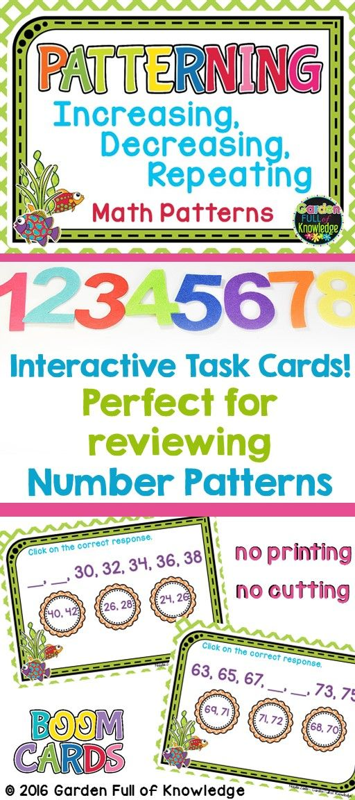 These interactive task cards are perfect for reviewing number patterns with your grades 1's, grades 2's, and grades 3's.  Students complete the engaging task cards on their handheld devices or on the computer.  Students read and review increasing, decreasing, and repeating number patterns.  For the younger grades, students will practice growing and shrinking number patterns up to 100.