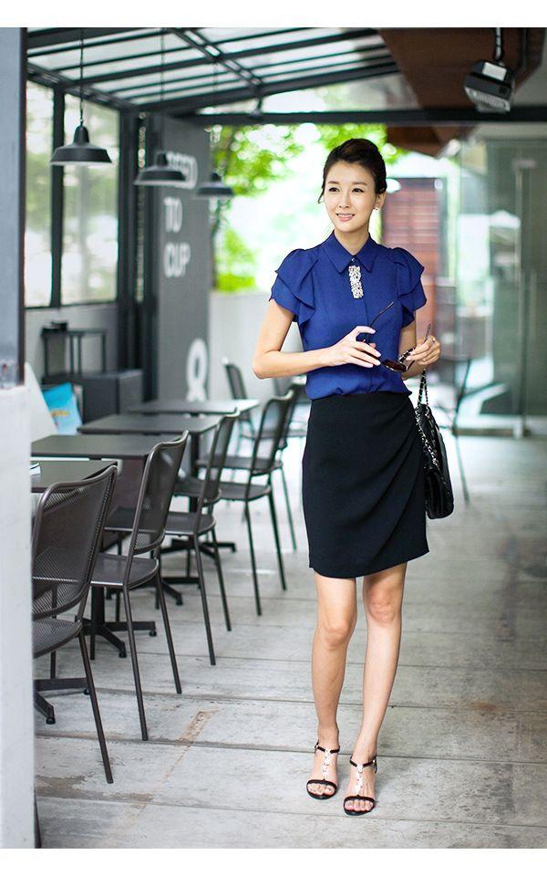 2014 koreaanse vrouwen ol kantoor dame korte mouw vrouwen blouse chiffon blouses blusas werkkleding blusa in van op Aliexpress.com