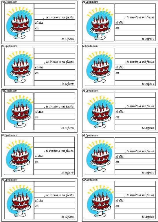 tarjetas de invitacion para cumpleaos version para imprimir gratis