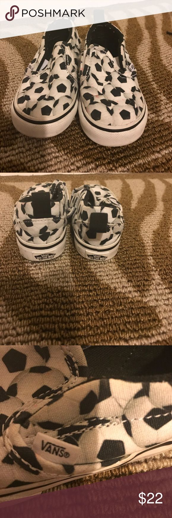 Toddler slip on Vans w/ soccer ball print! Toddler size 6, Slip on lightly worn with small toddlerish scuffs.. Vans Shoes Sneakers
