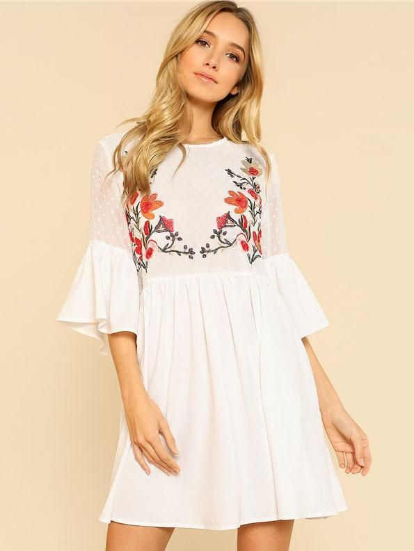 4a8b3f490 Ruffle Flower Embroidered Smock Dress #summer #ootd #streetfashion # summerdress #embroidery #anthropology #comfydress #loosedress #dresses