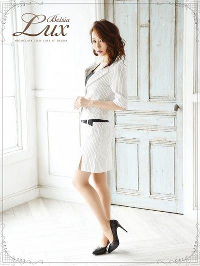 画像4: 【BelsiaLux】ストライプ柄五分袖キャバスーツ フォーマルスーツ/ビジネススーツにも【ベルシアリュクス】(S/M/L/XL)(ブラック/ホワイト),式スーツ 女性 フォーマル
