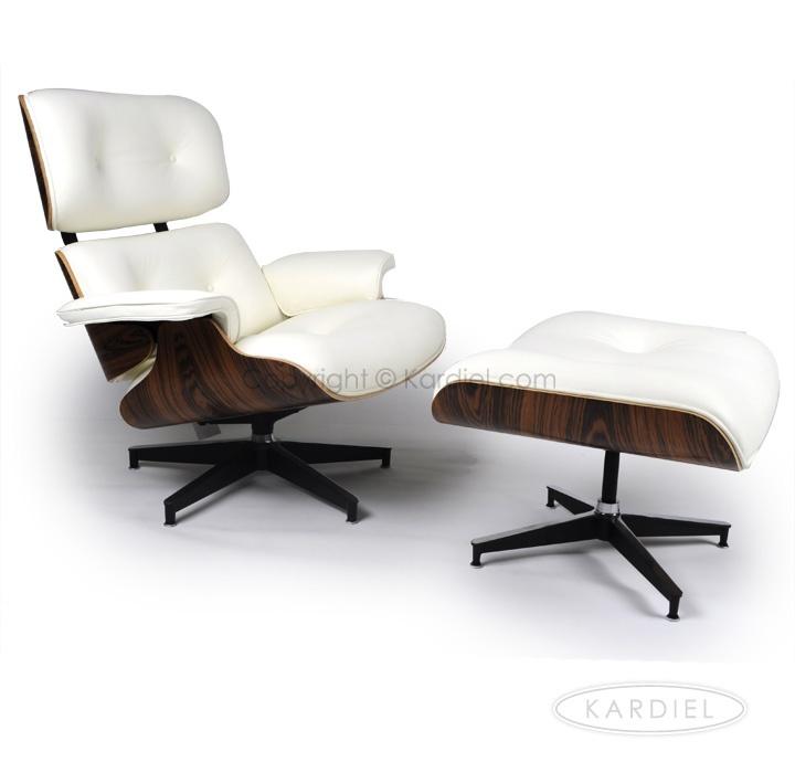Kardiel Eames Style Plywood Lounge Chair & Ottoman, White  Aniline/PalisanderAmazonHome & Kitchen