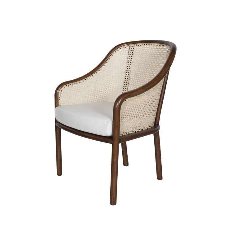 Interior HomeScapes Offers The Katherine Cane U0026 Wood Occasional Chair With  White Pu Leather Cushion By Worlds Away. Visit Our Online Store To Order  Your ...