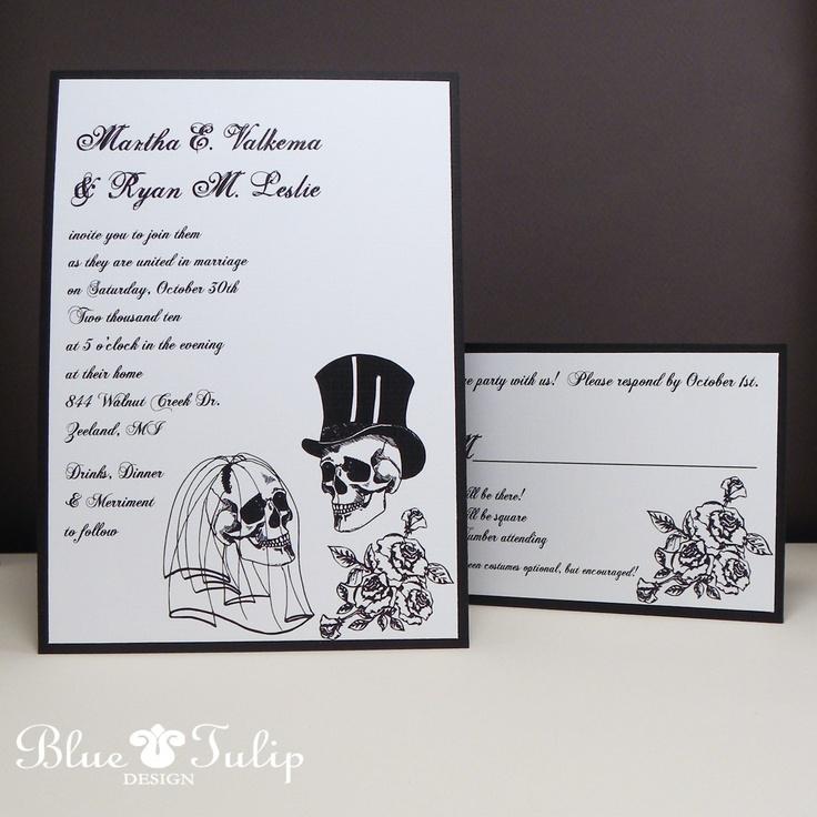 Wedding Skulls Alternative Style Wedding Invitation. $3.50, via Etsy.