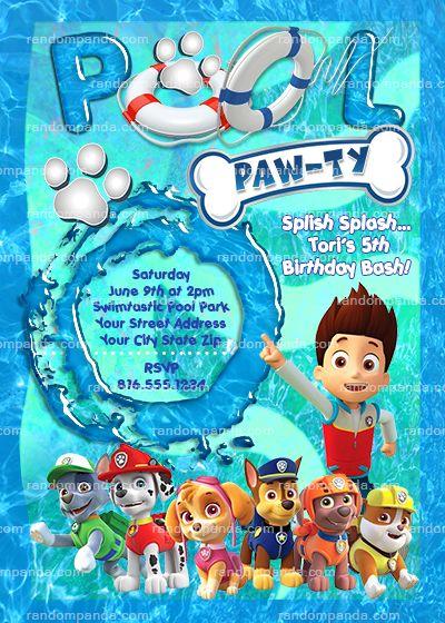 Paw Patrol Invitation, Chase Pool Party, Ryder Birthday Party Invite