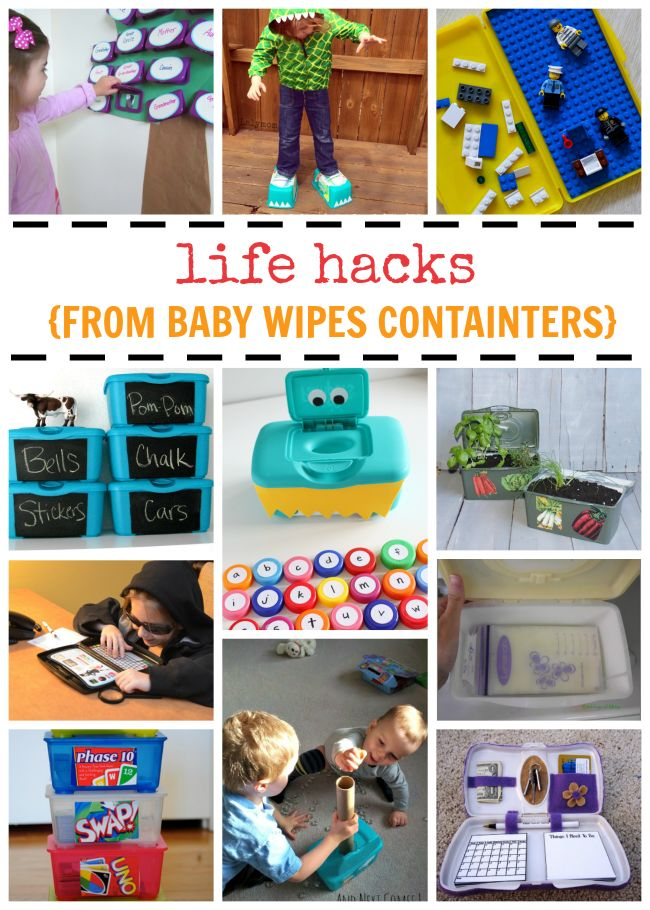So many awesome kids crafts and storage solutions using these baby wipe container hacks!