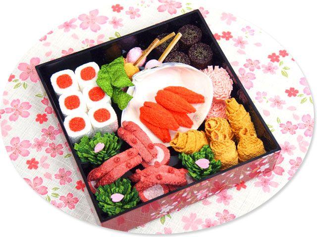 Lunch box for hanami made of Chirimen,Kimonofabric