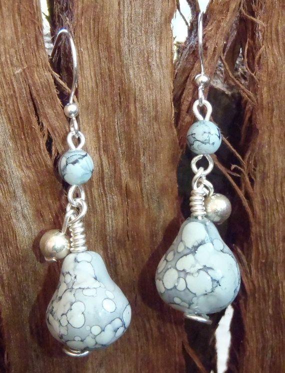 Beautiful Pear shaped earrings  wired Grey Pear by BrigittesJewels, $15.00