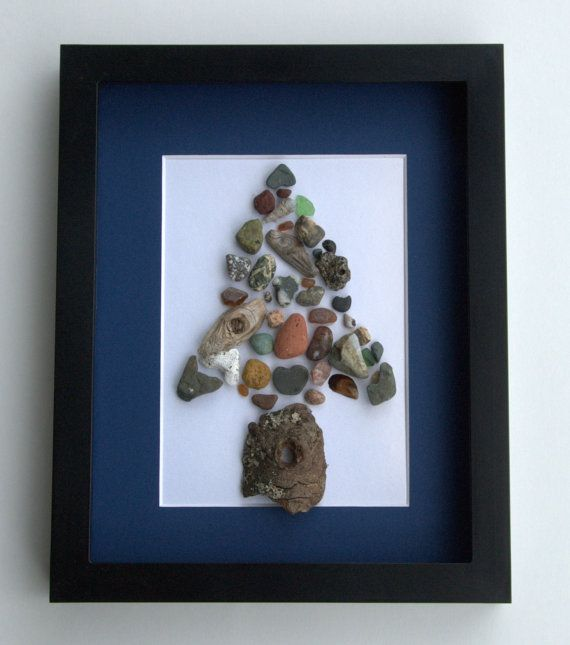 Unique Abstract Gift and Original Pebble Art Work by SticksnStone, $60.00