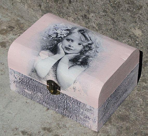 Wood Box Decoupaged handmade box Jewellery by HANDMADEbyPEPE