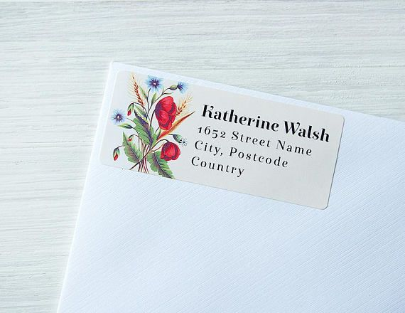 Custom Return Address Labels Floral Vintage Flowers Wild Poppies Personalized Address Stickers