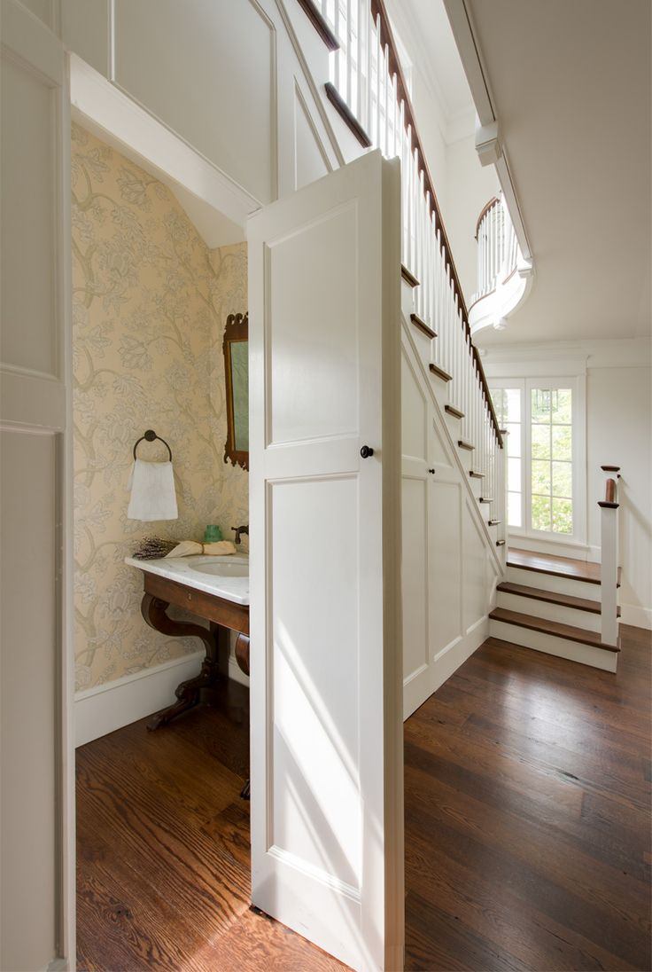 under the stairs powder room donald lococo architects classic american foursquare
